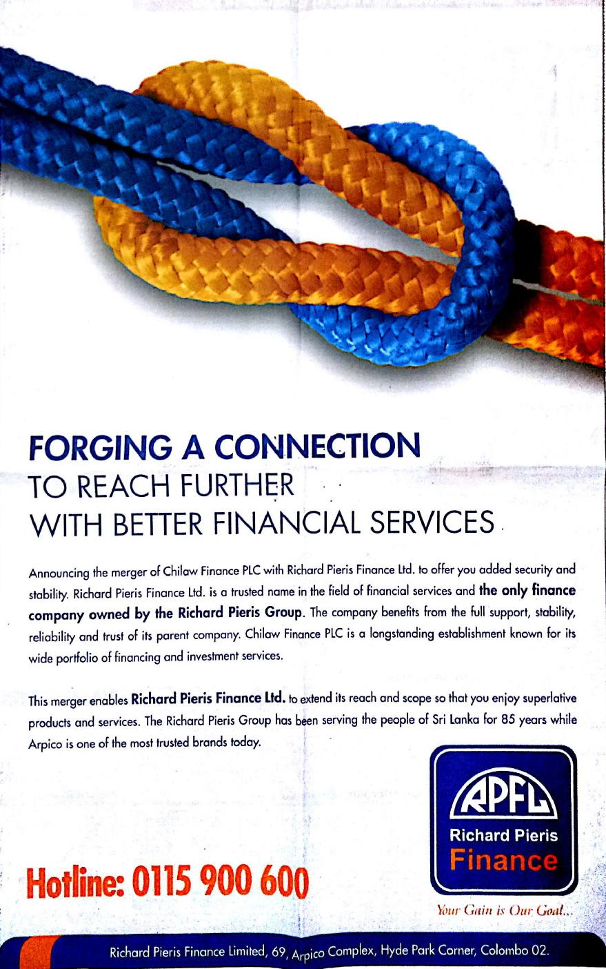 Announcing The Merger Of Chilaw Finance PLC With Richard Pieris Finance Ltd