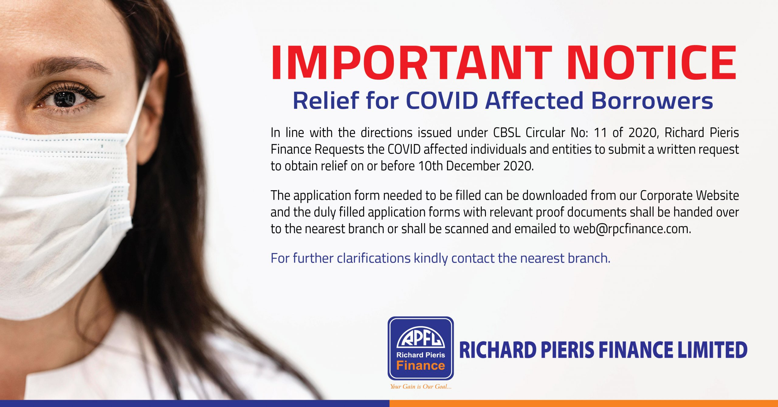 Important Notice- Relief for Covid Affected Borrowers